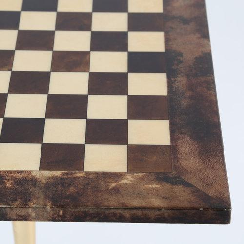 1950S ALDO TURA GOATSKIN GAMES TABLE WITH BRASS BASE For Sale In New York - Image 6 of 10