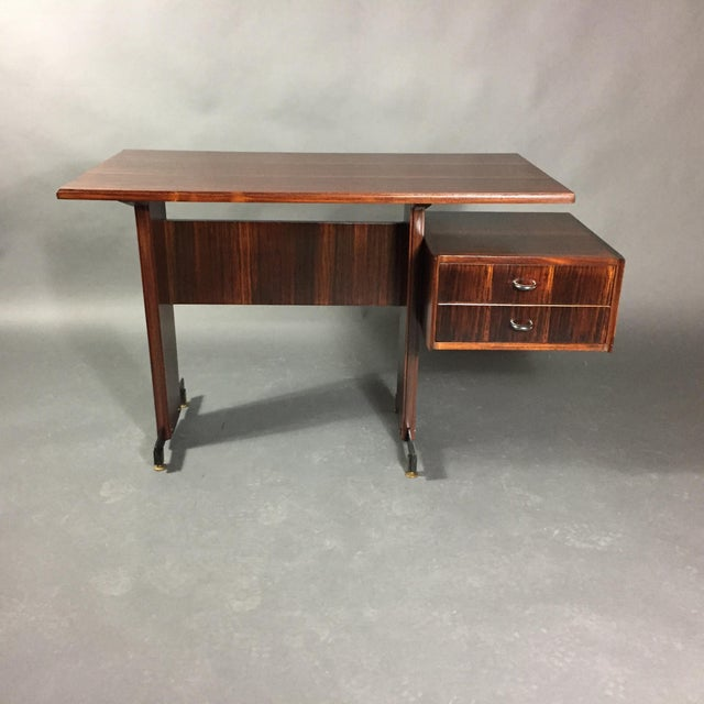 Midcentury Continental Mahogany Dressing Table or Small Desk For Sale In New York - Image 6 of 10