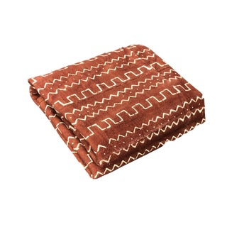 """African Malian Bogolan Textile Mud Cloth Brown & White 41"""" by 63"""" For Sale"""