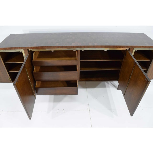 1960s Widdicomb Credenza or Sideboard in Walnut With Parquet Patterned Top For Sale - Image 9 of 13