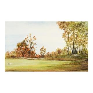 Meadow Landscape Watercolor Painting For Sale