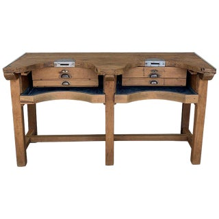 20th Spanish Butcher Block or Work Bench Table With Zinc-Lined Drawers and Compartment For Sale