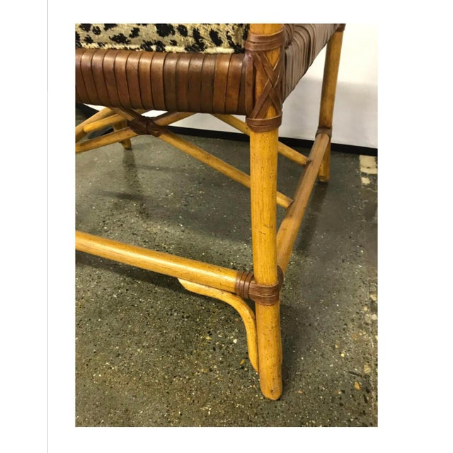 Hickory White Woven Leather and Bamboo Dining Chairs With Round Wood Table Set For Sale - Image 12 of 13