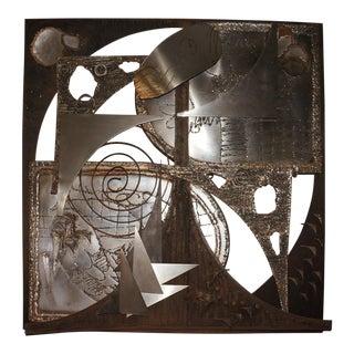 Mid-Century Brutalist Jørgen Flemmer Metal Wall Art Sculpture For Sale