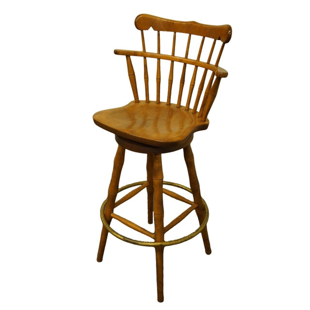 "S BENT BROS. Gardener, Mass Colonial Style Solid Maple Swivel Bar Stool w. Antique 30 Finish 44"" High 22"" Wide 20.5"" Deep..."