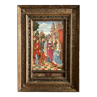 Antique Medieval Oil Painting on Panel, Queen & Her Court For Sale