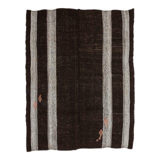 Mid 20th Century Brown & Gray Vintage Goat Hair Kilim Rug For Sale