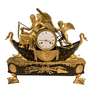 19th Century French Empire Bronze Mantel Clock with Father Time For Sale