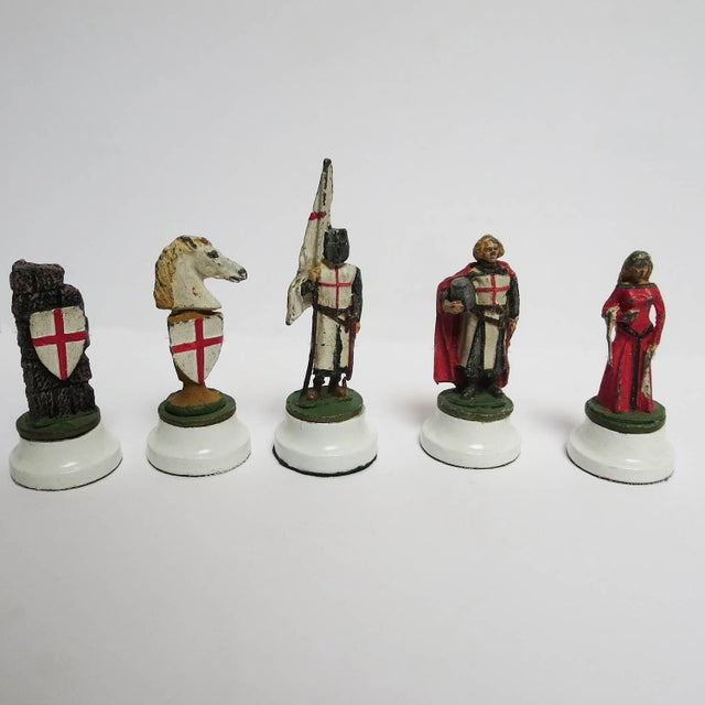 Chess Set With Painted Lead Medieval Figures on Lucite Board For Sale In Los Angeles - Image 6 of 9