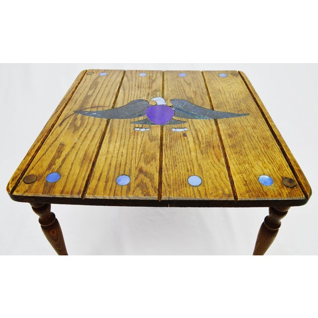 Mosaic Eagle Inlay Wood Accent Table - Image 4 of 9