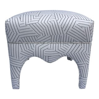Vintage Square Upholstered Ottoman For Sale