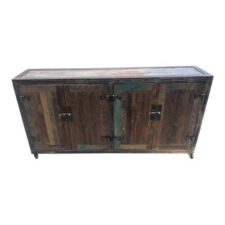 20th Century Mexican Industrial Pine and Iron Cabinet