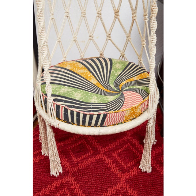 Vintage Boho Chic Macrame Hanging Chair For Sale - Image 12 of 13
