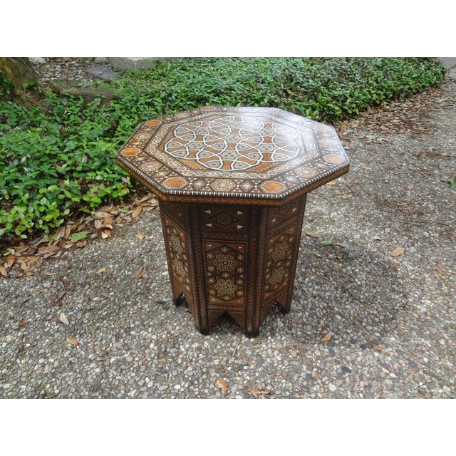 Antique Middle Eastern Arabesque Style Mother of Pearl Inlaid Table For Sale - Image 12 of 13