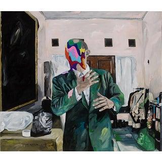 """Iqi Qoror """"Odd Pose in Livingroom"""" Original Painting For Sale"""