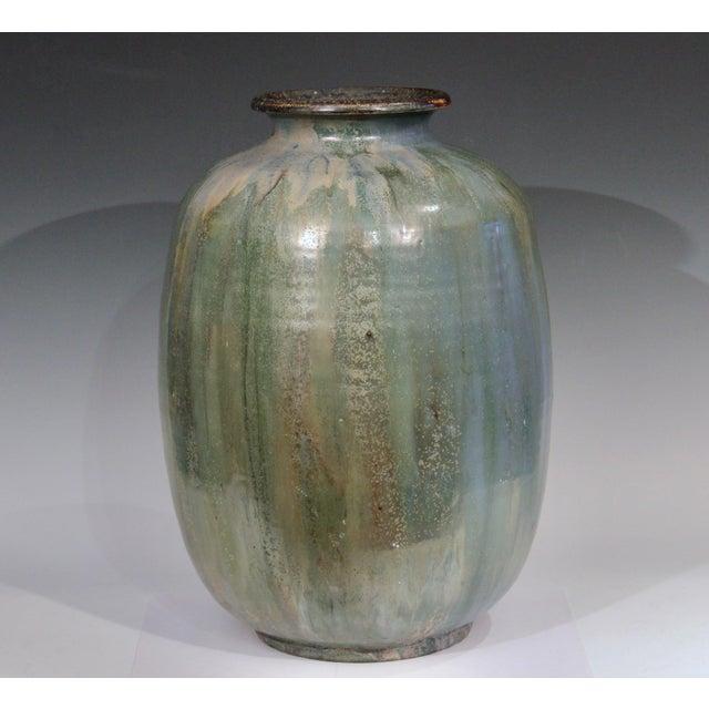 French 1930s Roger Guerin French Belgian Studio Art Pottery Crystalline Iridescent Glaze Vase For Sale - Image 3 of 11