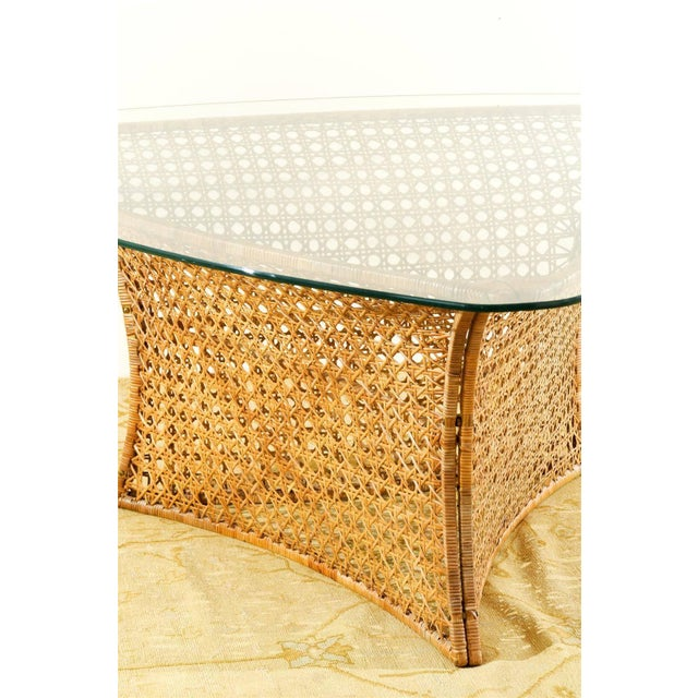 Metal Fantastic Vintage Rattan Triangle Base Dining or Game Table by Danny Ho Fong For Sale - Image 7 of 9