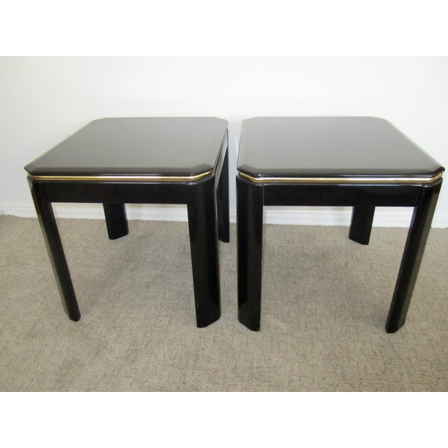 Vintage Modern Black Lacquer & Brass Tables - Pair - Image 2 of 10