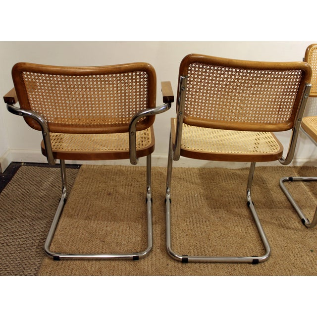 Mid-Century Danish Modern Marcel Breuer Style Caned Dining Chairs - Set of 6 - Image 3 of 10