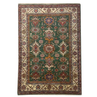 Rustic Geometric Knotted Green, Beige and Red Handmade Carpet - 5′7″ × 7′10″ For Sale