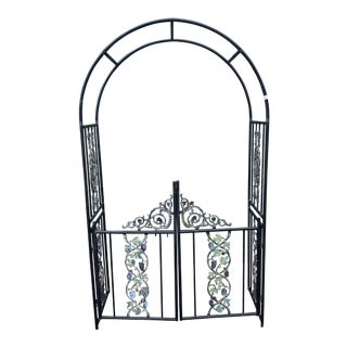 1970s Cast Iron and Tubular Steel Arched Entryway Garden Gate For Sale