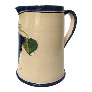 Late 20th Century Vintage Williams-Sonoma Farmhouse Hand Painted Italian Pitcher For Sale