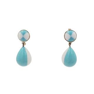 Early 1950s Trifari Blue & White Drop Earrings For Sale