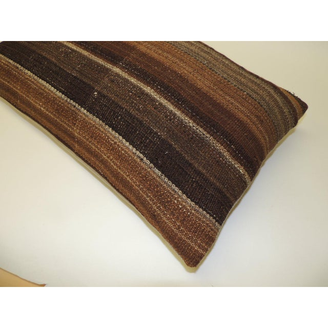 Boho Chic Brown Woven Turkish Stripe Decorative Bolster Pillow For Sale - Image 3 of 5