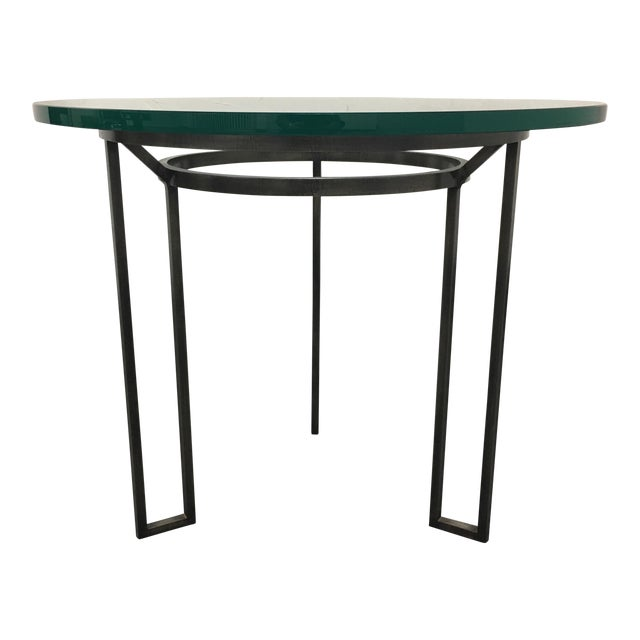 Iron Based Glass Top Side Table - Image 1 of 8