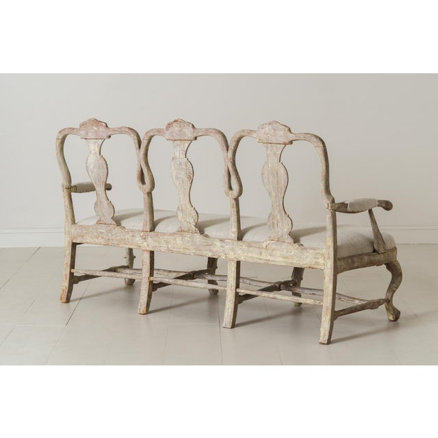 18th Century Swedish Rococo Period Settee or Bench in Original Paint For Sale - Image 9 of 12