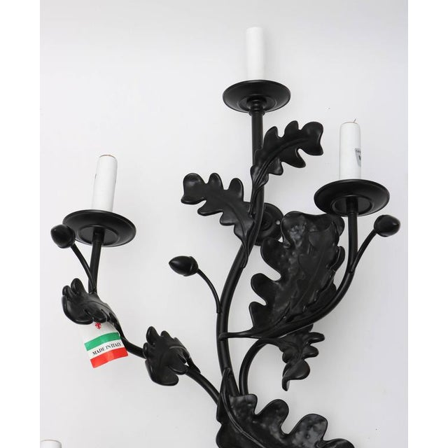 Pair of Five-Light Wall Sconces in Black with Acorn Leaf Motif - Image 4 of 9