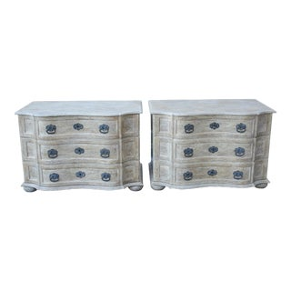 Pair of Tan Three Drawer Chests For Sale
