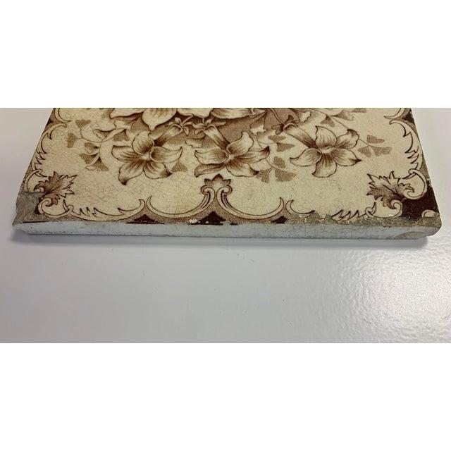 Antique French Floral Motif Tile For Sale - Image 4 of 6