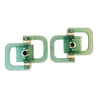 XL Italian Green Glass & Chrome Sconces