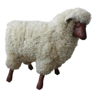 Mid Century Walnut and Wool LaLanne Style Sheep Stool Sculpture For Sale