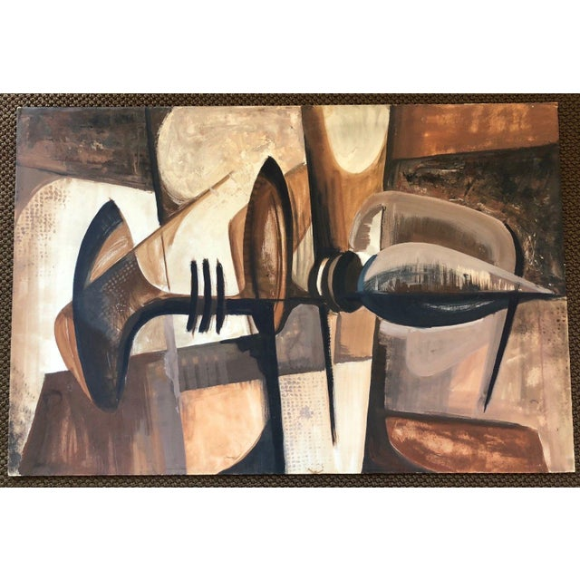 1960s Vintage 1960s Abstract Cubist Shapes Oil Painting For Sale - Image 5 of 10