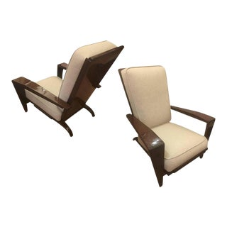 Andre Sornay Comfortable Pair of Lounge Chair Newly Restored in Neutral Cloth For Sale