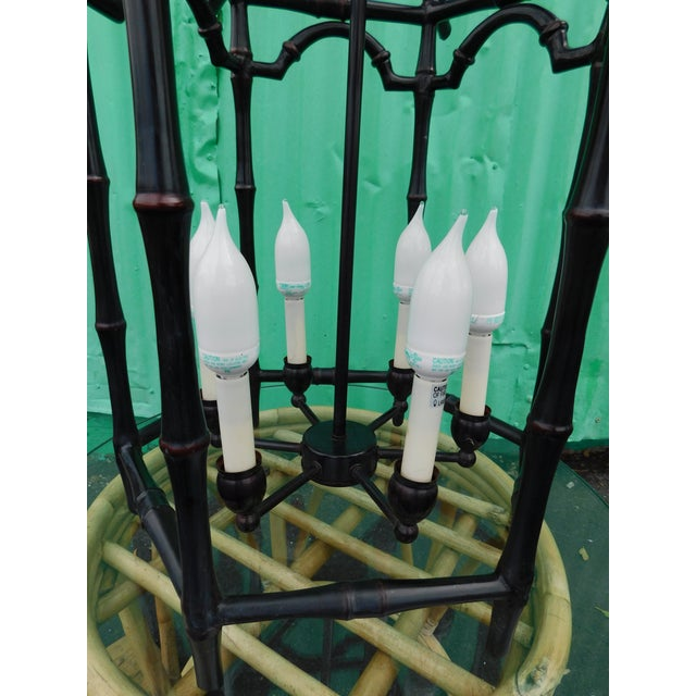 Pagoda Faux Bamboo Chandelier For Sale - Image 5 of 8