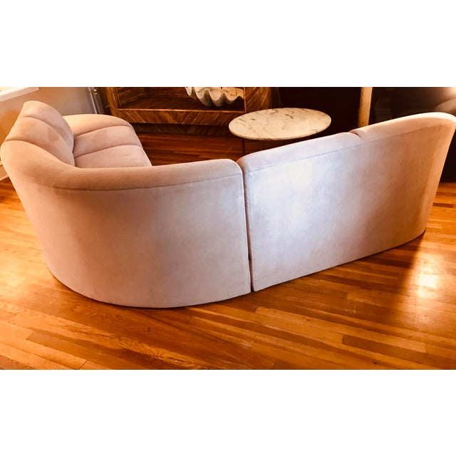 1990s Blush Serpentine Sectional Sofa by Vladimir Kagan for Weiman For Sale - Image 5 of 12
