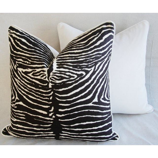 """Custom Brunschwig & Fils Zebra Feather/Down Pillows 23"""" Square - a Pair For Sale - Image 11 of 15"""
