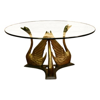 Vintage Brass Swan Coffee Table Base For Sale