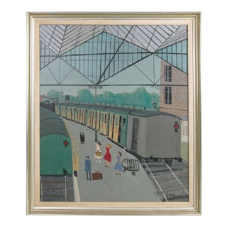 Paris Train Station Painting by A. M. Guerin For Sale