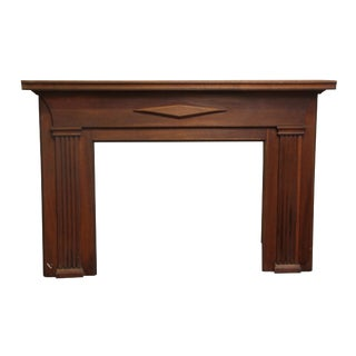 Federal American Walnut Wooden Mantel With Diamond Motif