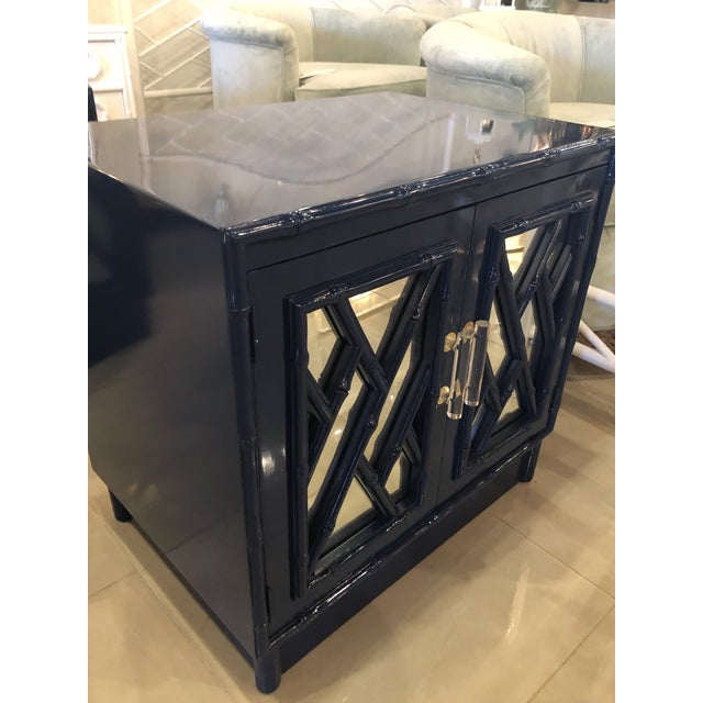 Blue Vintage Chinese Chippendale Navy Lacquered Mirror Lucite Brass Nightstands Chests -A Pair For Sale - Image 8 of 13