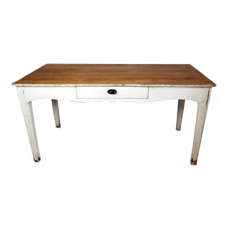 Antique Primitve French Scalloped Edge Farm Table With Drawer