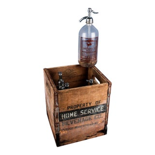 Vintage Brownes Mule Seltzer Bottles in Wood Crate For Sale
