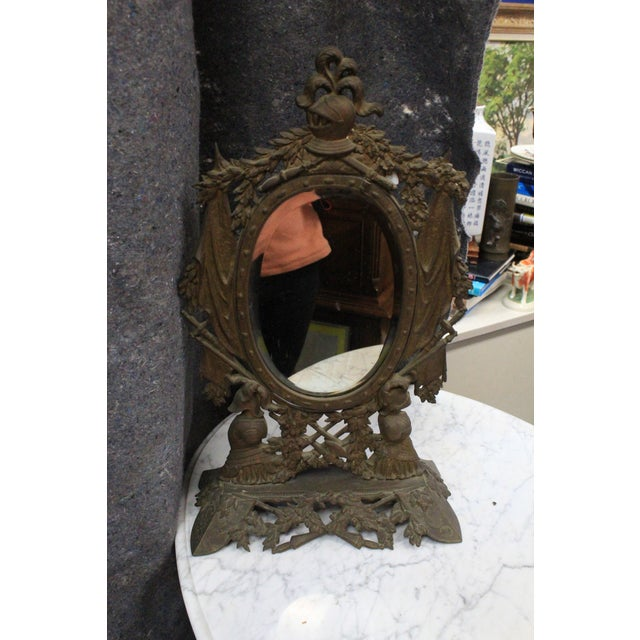 Gold Gothic Style Military Motif Table Mirror For Sale - Image 8 of 8