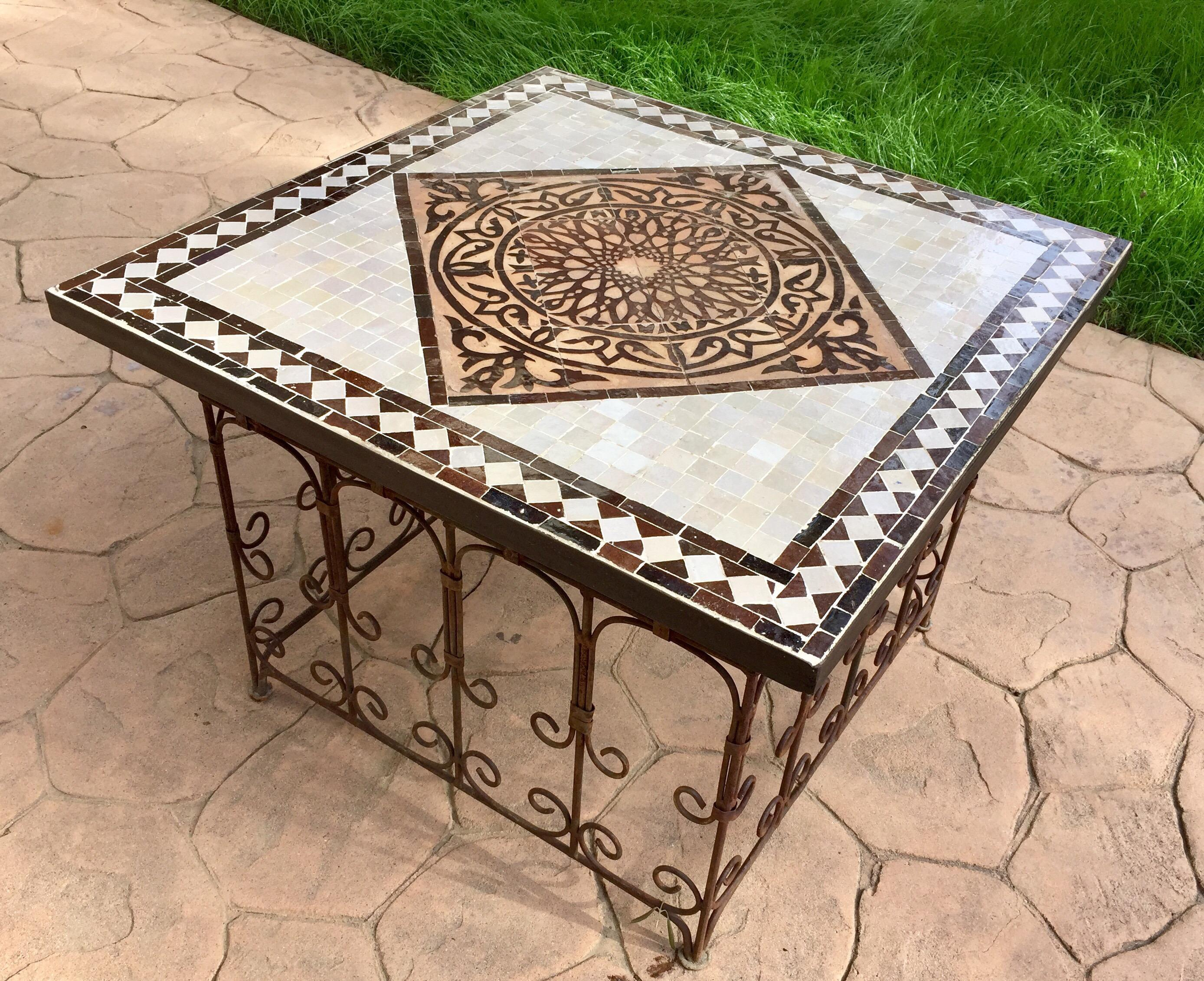 Moroccan Square Mosaic Tile Coffee Table On Iron Base Chairish