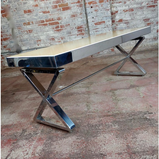 Chrome Beautiful Designer Chrome Coffee Table With Lacquered Wooden Top For Sale - Image 7 of 10