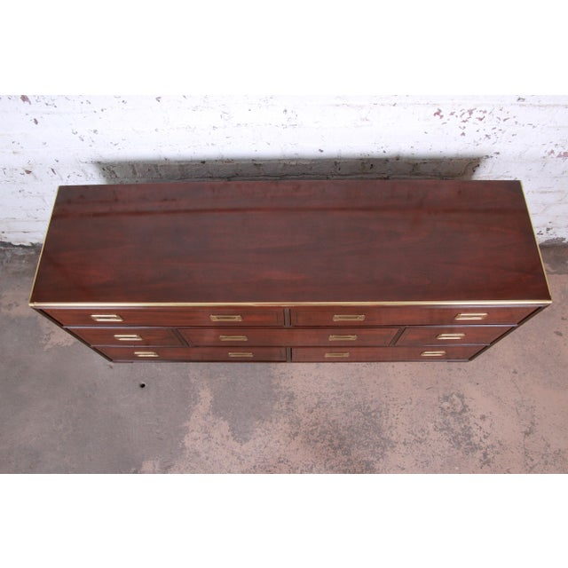Baker Furniture Brass Campaign Style Long Dresser For Sale In South Bend - Image 6 of 13